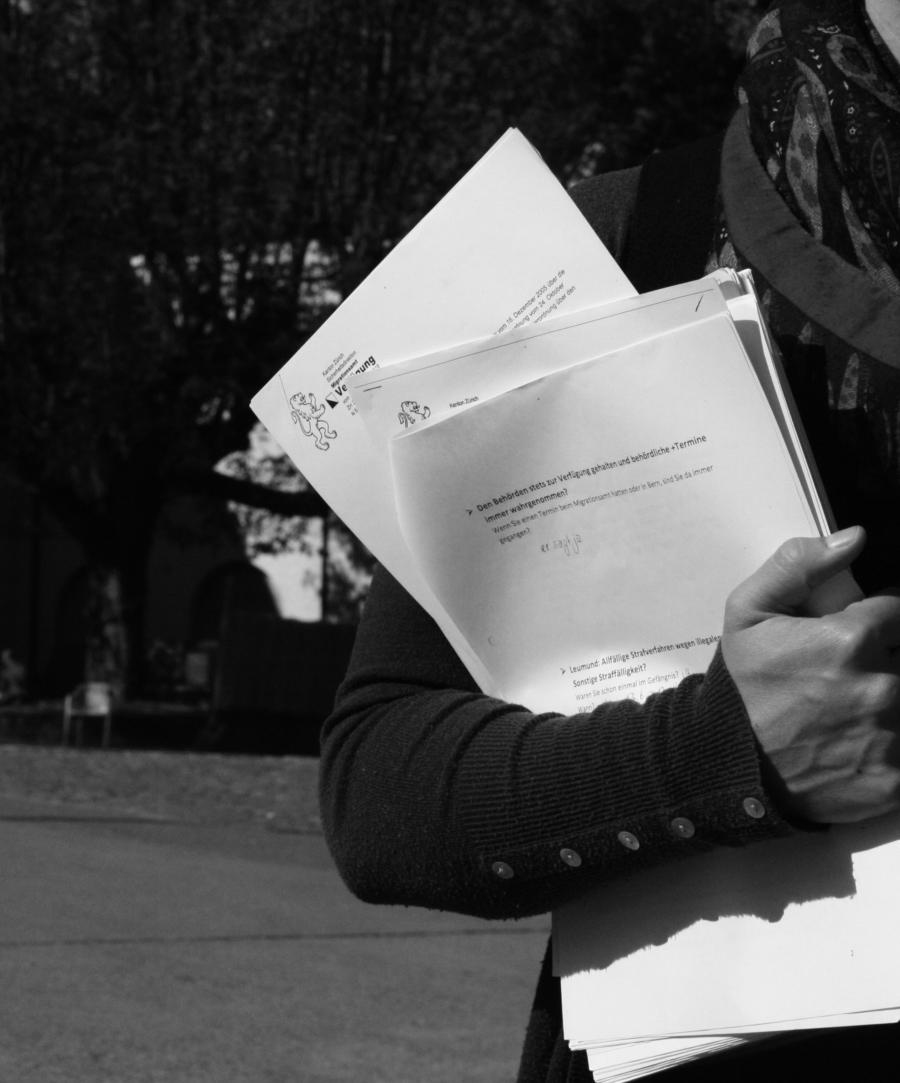 Das Bild zeigt die Aktivistin Rosa mit einem Stapel Akten unter dem Arm. Oben links im Briefkopf der Zürcher Löwe.